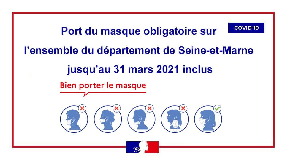 Port du marsque obligatoire sur l'ensemble du département de Seine-et-Marne jusqu'au 31 mars 2021 inclus
