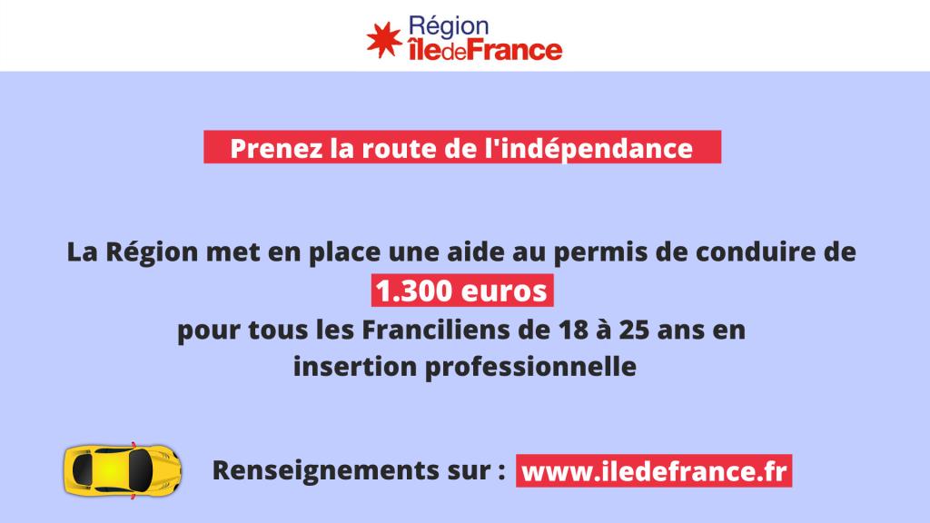 Aide de la Région Île-de-France au permis de conduire pour les jeunes de 18 à 25 ans en insertion professionnelle