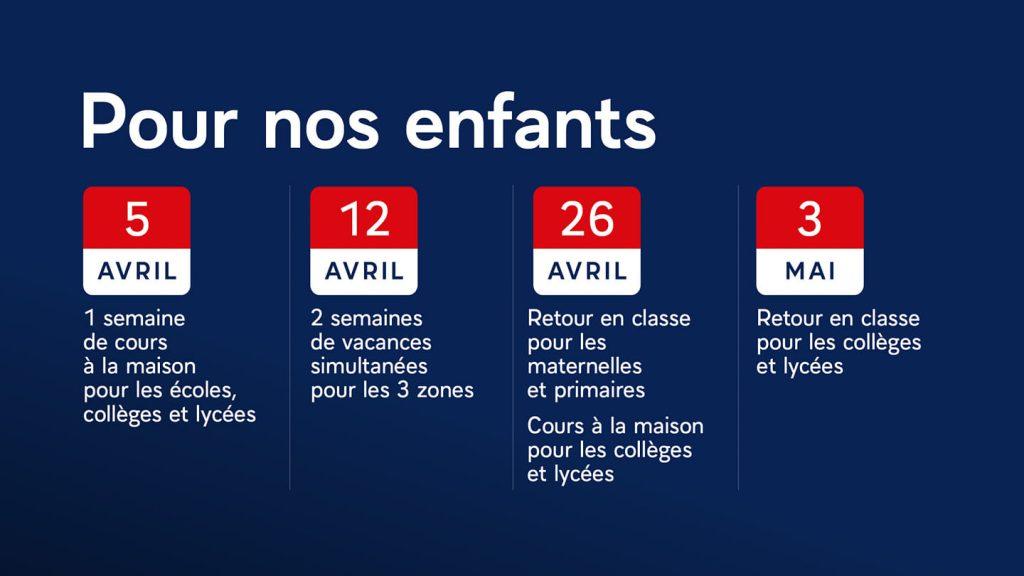 """Infographie du calendrier adaptatif """"pour nos enfants"""""""