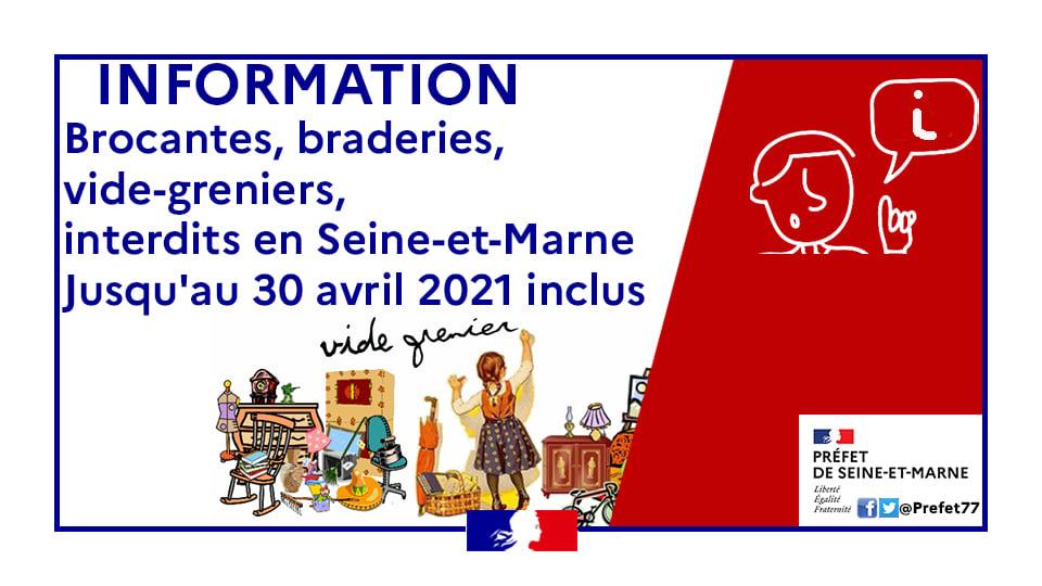 Information - Brocantes, braderies, vide-greniers, interdits en Seine-et-Marne jusqu'au 30 avril 2021 inclus.