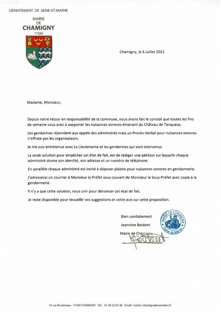 Lettre aux habitants du hameau de Tanqueux concernant les nuisances sonores qu'ils subissent - Chamigny