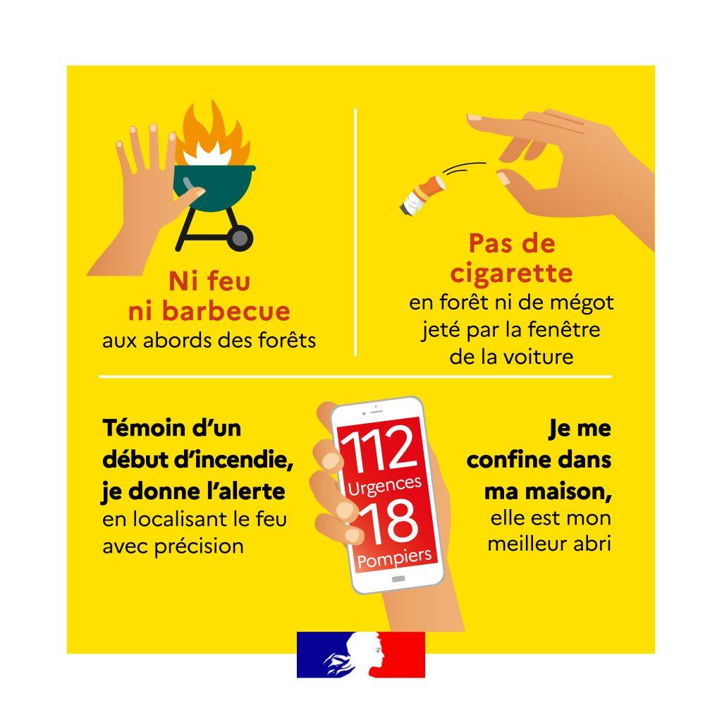 """Vignette """"Ni feu ni barbecue aux abords des forêts"""" & """"Pas de cigarette ni de mégot jeté par la fenêtre de la voiture"""" - Chamigny"""