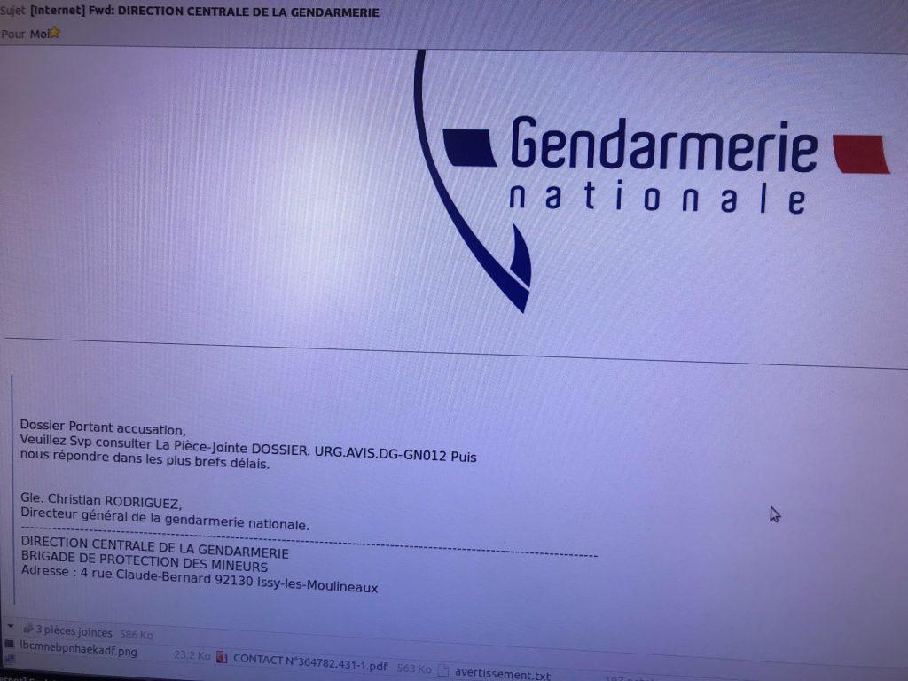 capture d'écran mail frauduleux de la Gendarmerie Nationale